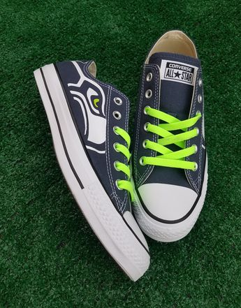 393b5d6705a154 Customized Seattle Seahawks Converse Sneakers