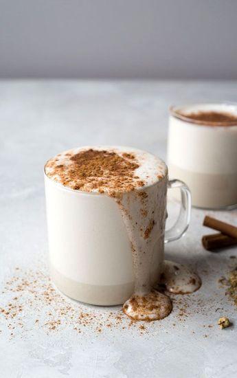 Enjoy a Chamomile Tea Latte as the weather cools down! #herbal #herbaltea #hotdrinks #chamomile #falldrinks