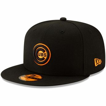 f15eb78cc Men s Chicago Cubs New Era Black Orange Outline Neon Pop 59FIFTY Fitted Hat
