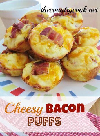 Homemade cheesy bacon puffs