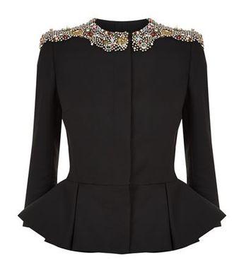 c8ecc90305a11 Alexander McQueen Embellished Peplum Jacket available to buy at Harrods.  Shop women s designer fashion online
