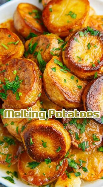 Toss the potatoes in the mixture of the butter, thyme, salt and pepper, arrange in a single layer on a metal baking pan and bake in a preheated 500F/260C over on the top-middle rack until golden brown, about 10-15 minutes, per side.