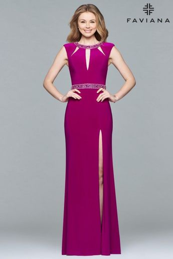 Faviana Glamour S10009 Cutout Neck Gown