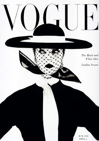 VOGUE MAGAZINE COVER: Vintage Black and White Fashion Art