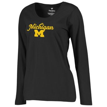 Michigan Wolverines Fanatics Branded Women's Plus Sizes Freehand Long Sleeve T-Shirt - Black