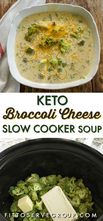 Low Carb Keto Broccoli Cheese Slow Cooker Soup