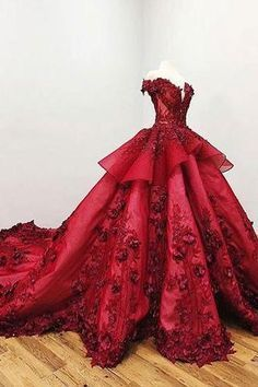 2019 Chic Ball Gown V Neck Beads Appliques Red Off-the-Shoulder Long Prom Dresses uk PW139