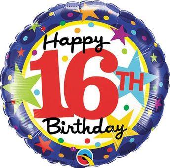 LuftBalloons Std 16th Birthday Stars Balloon