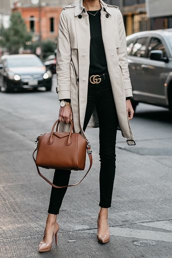 Club Monaco Trench Coat Black Sweater Black Skinny Jeans Gucci Marmont Belt  Nude Pumps Givenchy Antigona e151b7637b49b