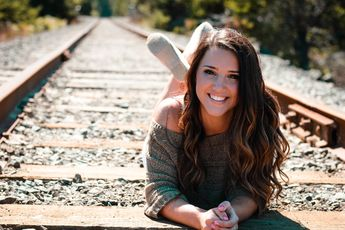 Senior shoot out on a railroad track