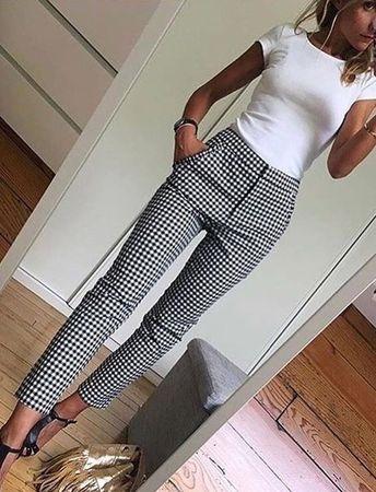 White fitted top Black and white slacks
