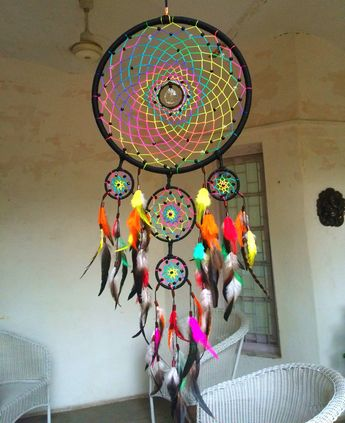 Psychedelic Dreamcatchers by Mystic  Contact us for more details - +91 909 659…