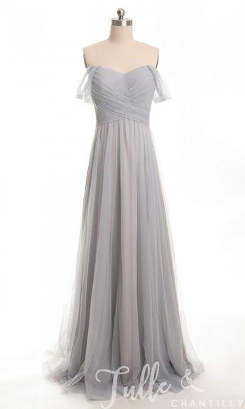 6b724fda398 Long Off Shoulder Tulle Bridesmaid Dress TBQP328