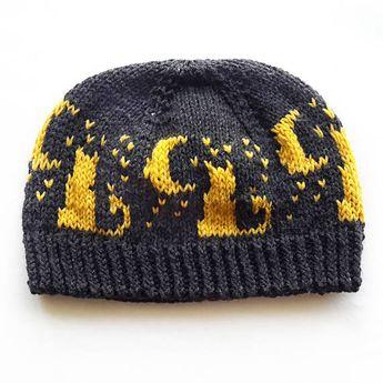 9d477f49ff6134 Knit hat pattern, unisex hat pattern, moon cat hat pattern, stranded hat  pattern