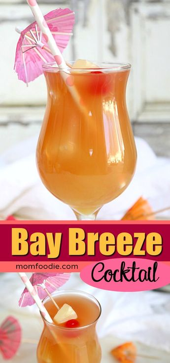 Bay Breeze Cocktail - Easy drink recipe to make at home! #cocktails #drinkrecipes  #drinks