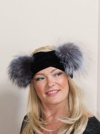 9d0f03d6681 Double Pompom Headband Ear Warmer Bobble Beanie Hat 2 Fur pompoms Ribbed  Beanie Black Hat Double