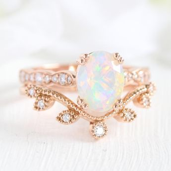 Grace Solitaire Bridal Set w/ Opal and Curved Leaf Diamond Band