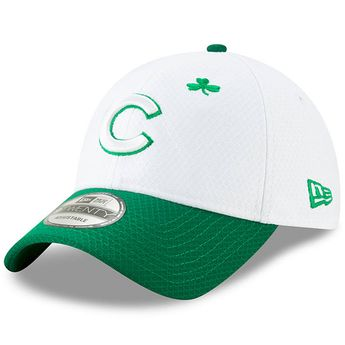 a2d42175b Men s Chicago Cubs New Era White Kelly Green 2019 St. Patrick s Day 9TWENTY  Adjustable