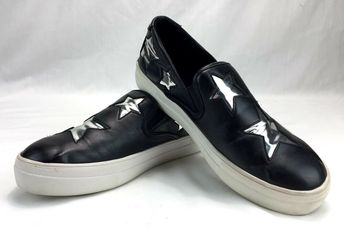 Details about Steven Steve Madden Womens 9.5 Gaia Shoes Black Silver Star  Leather Sneakers aaf53f968