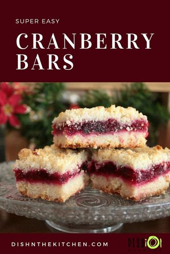 Cranberry Bars are rich, buttery and so easy to make. Perfect for the holidays and a great way to use up any leftover fresh cranberries or cranberry sauce. #ChristmasBaking #Christmas #CranberryBars #Squares #Bars