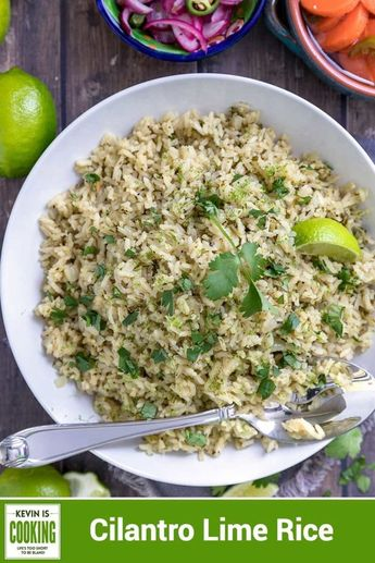 My Cilantro Lime Rice gets rinsed, toasted in butter, onion and garlic and steamed in chicken stock blended with cilantro. Lime juice and zest top it off. #cilantrorice #limeRice #MexicanRice #cincodemayo