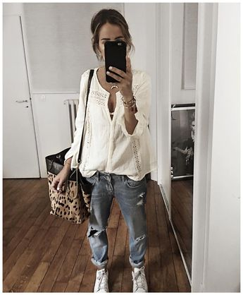 """6,847 mentions J'aime, 77 commentaires - Audrey Lombard (@audreylombard) sur Instagram: """"⚪️✨⚪️ • Shirt #magalimascal (from @magalipascal) • Jean #fivejeans (old) • Bag #jeromedreyfuss…"""""""