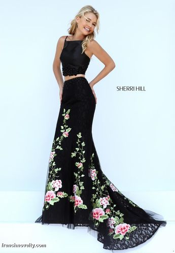 a08c8975943 Sherri HIll floral skirt and lace halter top 2-piece prom d