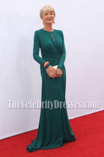 Helen Mirren Green Long Sleeve Formal Dress 'RED 2′ LA Premiere Red Carpet Gown TCD6929