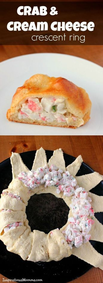 With crispy, flaky crescent rolls filled a delicious crab and cream cheese mixture, this Crab & Cream Cheese Crescent Ring is simple and scrumptious! #DeliciousSeafoodMeals