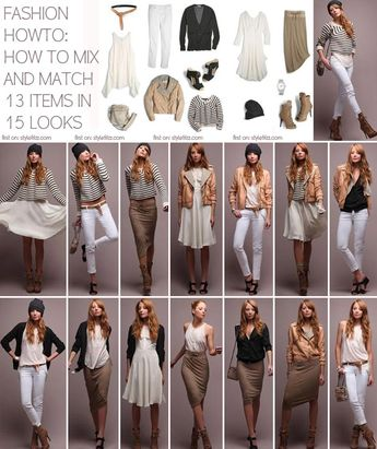 Minimal Wardrobe: Spring Summer 15 Looks With 13 Pieces I think this is a good styling guide, that you can fill in with pieces already in your own wardrobe - replace white jeans with favorite skinnies and so on . . .