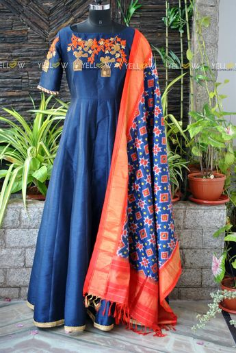 fa860ffb68b5f Beautiful bluecolor floor length anarkali dress with ikkat dupatta. Anarkali  dress with bird and caze