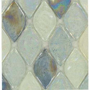 d15da4d87aa6 Atlantis Leaf Blue Glossy and Iridescent Glass Tile