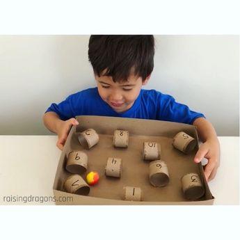Paper Towel Roll & Pom Pom Challenge * ages 3