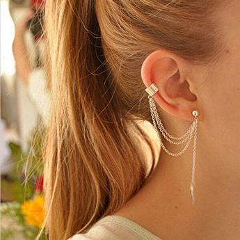 EQLEF® 2 Paires femmes Stylish Girl Punk Rock Feuille Chain Tassel Dangle Bijou d'oreille Chaîne Boucle d'argent et boucles d'oreilles d'or en bijoux