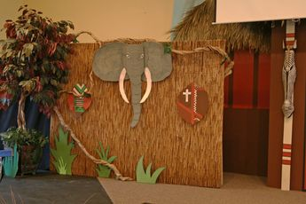 Small church VBS Drama set for Camp Kilimanjaro. we used bamboo thatch and rolled bamboo fencing for texture and it turned out great! #campkilimanjaro