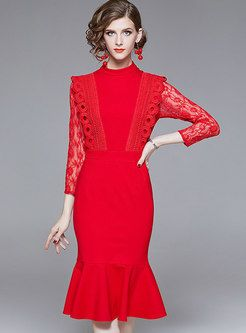 Autumn Red Sexy Lace-paneled Slim Mermaid Dress