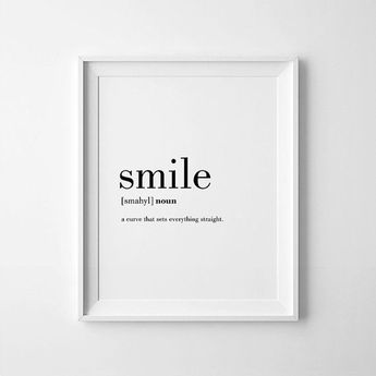 Smile Print, Smile, Definition Poster, Affiche Scandinave, Smile Decor, Definition Posters, Smile Wall Art, Cheer Up Gift