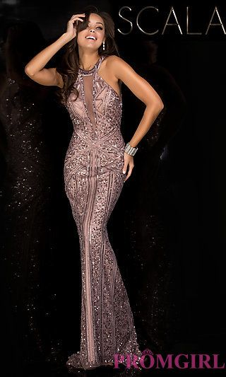 Sequin Prom Dress with an Illusion Inset