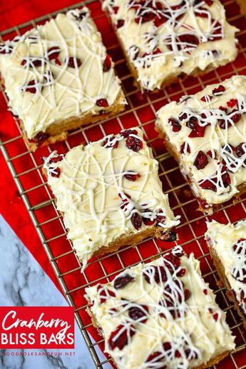 These Cranberry Bliss Bars are a Starbucks Copycat Recipe! They're quick and easy to make and taste just like Starbucks! #dessert #dessertrecipe #copycatrecipe #foodfolksandfun