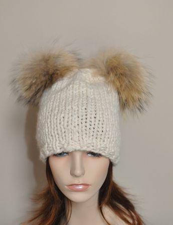 81aeedb7195 Double Pompom Hat 2 Bobble Hat 2 Fur Pom Pom Beanie Hat SALE Choose Color  Ski