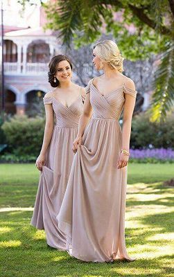 1d90b92c4bd Sexy Brown Off-the-shoulder Chiffon Long Bridesmaid Dresses