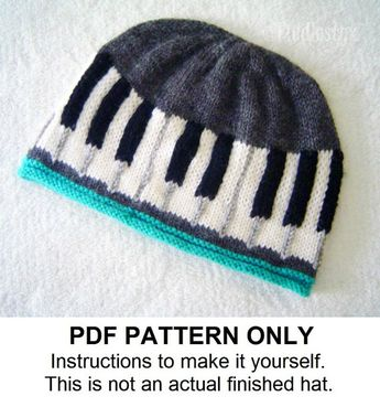 1f0f92bb1361b5 Knitting Pattern - Piano Hat Pattern - Musical Knitting Pattern - Beanie  Pattern the BEETHOVEN Hat