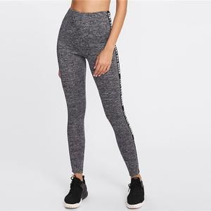 2889caa2e499d SweatyRocks Letter Print Side Marled Knit Leggings Grey Stretchy Crop Leggings  Women Summer Athleisure Sporting Active