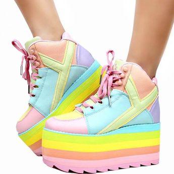 84ba29f340c6f Details about Y.R.U. YRU PASTEL QOZMO Hi Platform Sneaker
