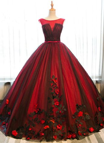 Red satin scoop neck long halter senior prom dress with black tulle, long 3D appliqués evening dress from Sweetheart Dress
