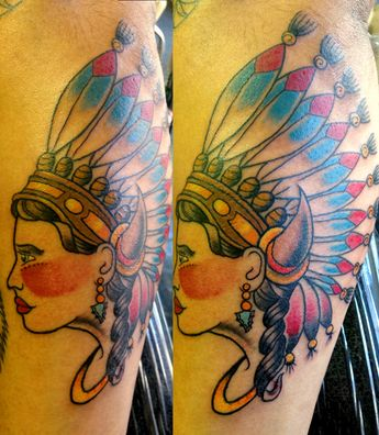 0ea861546 #jason #doherty #traditional #indianheadresstattoo #color #tattoo #gilded  #heart