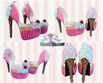 a2fbe57e19a8bd Cupcake - icecream cone custom made heels shoes one of the kind