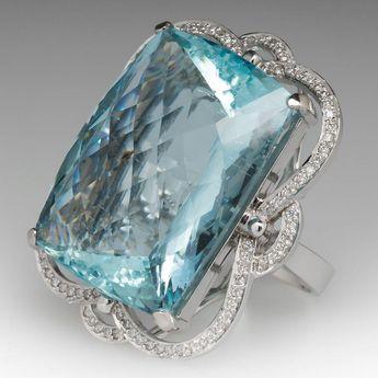 2b111ccbed796 Paolo #Costagli Emerald-Cut Aquamarine Diamond Cocktail R