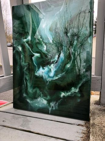 Green Sea: Original Abstract Resin Art Painting