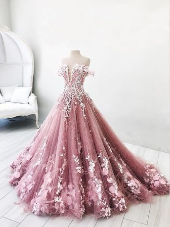 Ball Gown Off-the-Shoulder Lavender Tulle Appliques Prom Dress with Feather,Pink Lavender Quinceanera Dress,Prom Dress from SofieDress